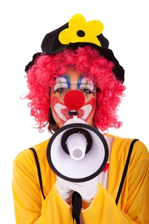 小丑滑稽的扩音机 库存图片