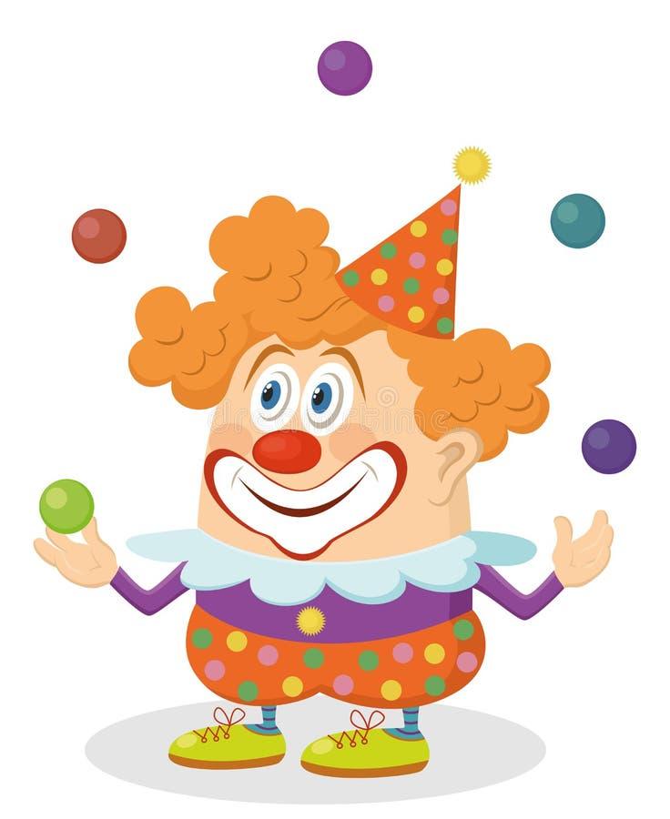 小丑玩杂耍的球 向量例证