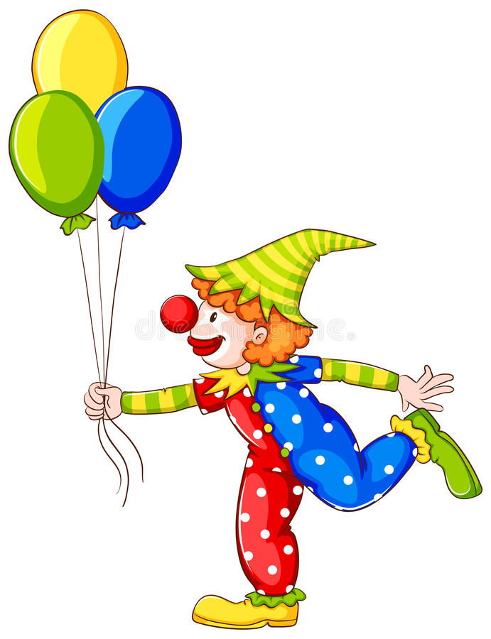 小丑的一张色的图画 向量例证