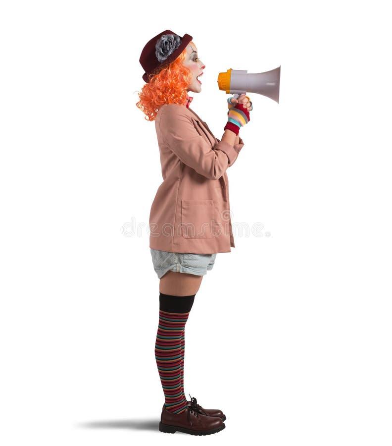 小丑的广告 免版税库存图片