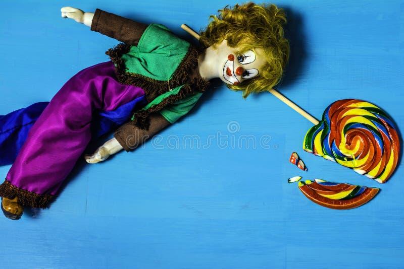 小丑的残破的梦想 免版税库存照片
