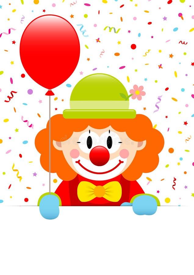 小丑藏品红色气球和标签与飘带和五彩纸屑 库存例证