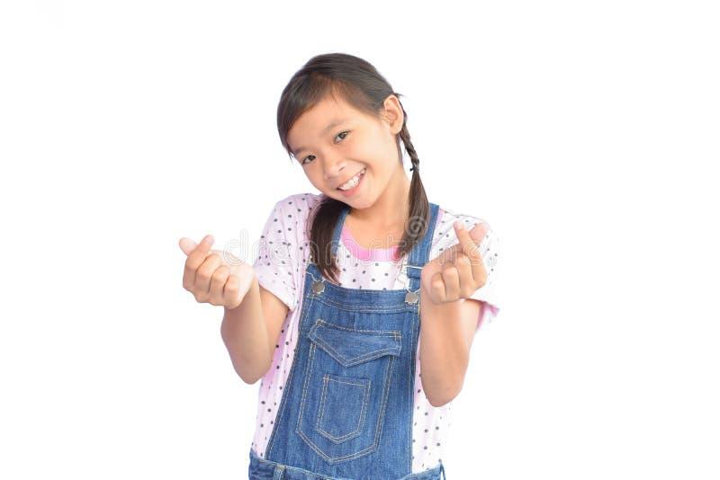 小亚裔女孩画象白色的 库存图片