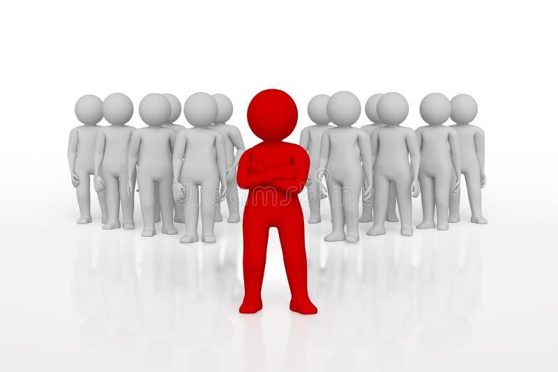 小人物队的领导分配与红颜色 3d翻译 查出的空白背景 库存例证