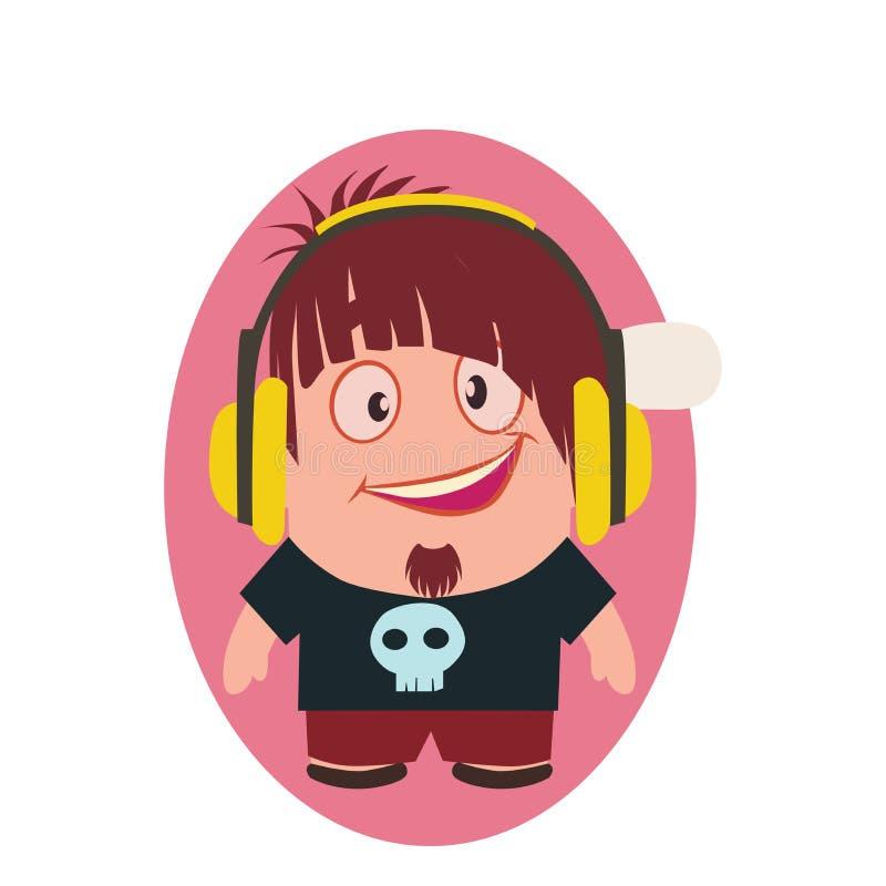 小人的逗人喜爱,凉快和滑稽的微笑的怪杰具体化有耳机漫画人物的在平的传染媒介 库存例证