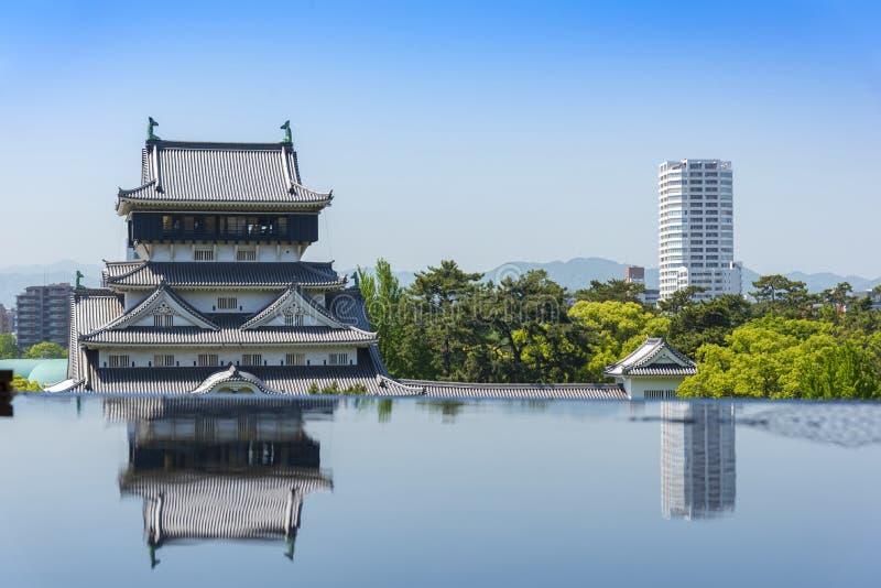 小仓城堡,与天空蔚蓝的日本传统城堡塔在胜山公园,北九州,福冈,九州,日本 免版税库存图片
