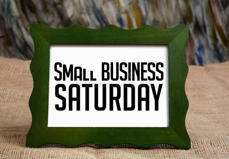 小企业星期六在黑板wrriten 免版税库存照片