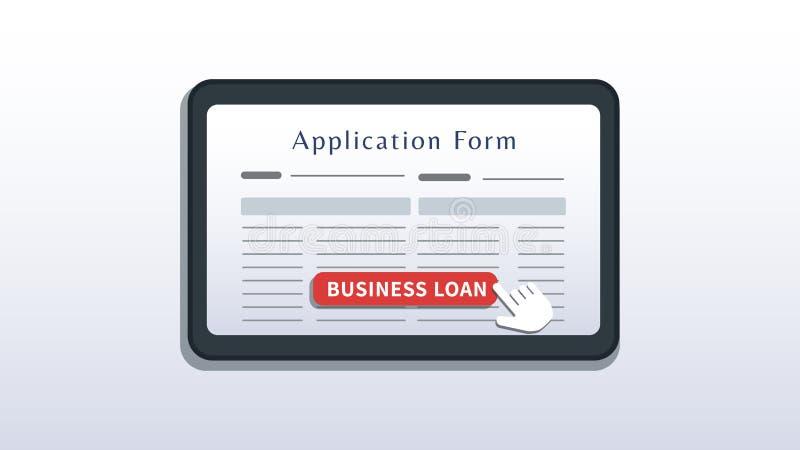 小企业贷款网上金融概念 屏幕上具有应用表单的平板电脑,光标单击按钮被隔离 皇族释放例证