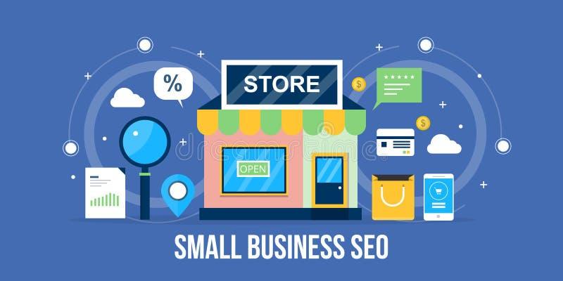 小企业seo -地方企业优化概念 平的设计seo横幅 库存例证