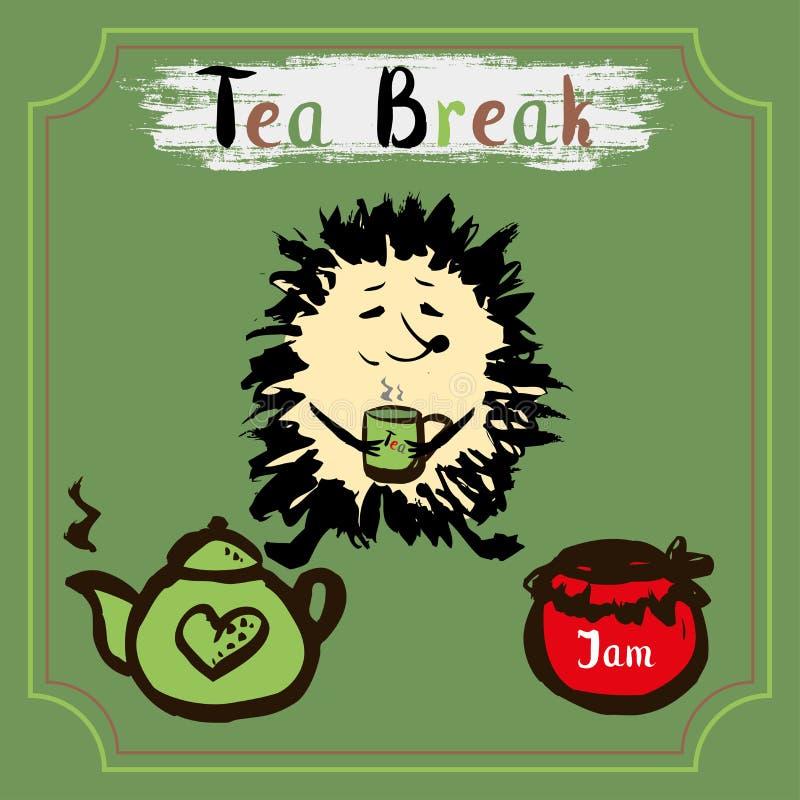 小休 与一个杯子的猬茶、茶和果酱 库存例证