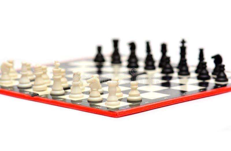 小便携式的旅行下棋比赛 免版税库存照片