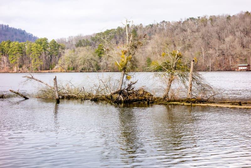 小便dee和流经uwharrie山的yadkin河 免版税库存图片