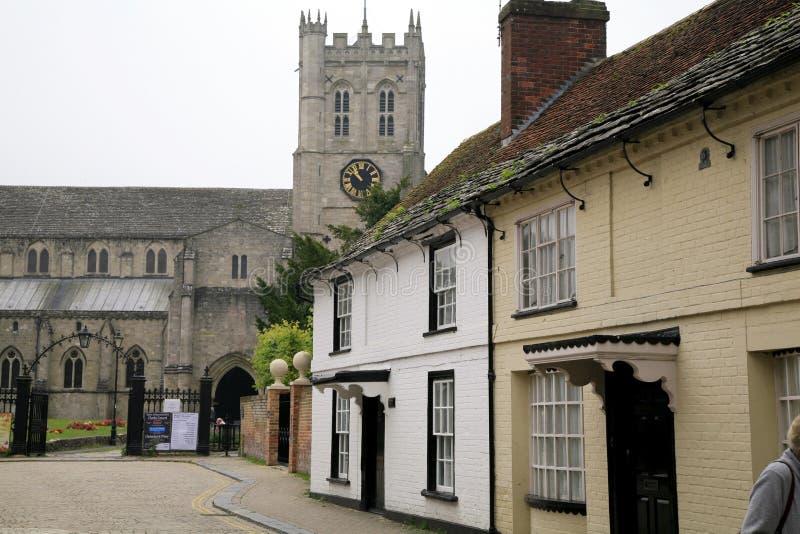 小修道院教会和村庄,克赖斯特切奇 免版税库存照片