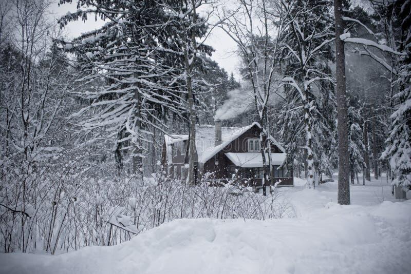 小偏僻的房子在降雪的森林里在俄罗斯 库存照片