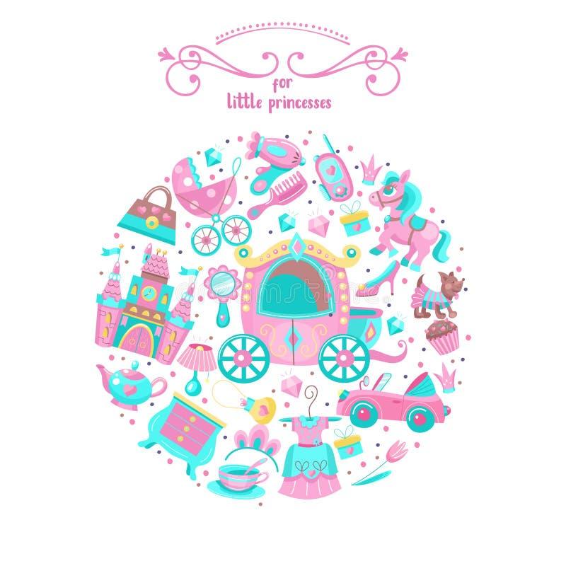 小公主的玩具 套传染媒介cliparts 库存例证