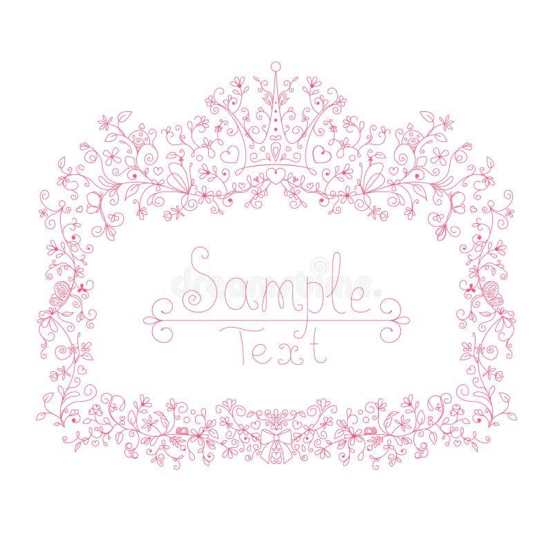 小公主、魅力女孩和妇女的桃红色花卉框架 库存图片