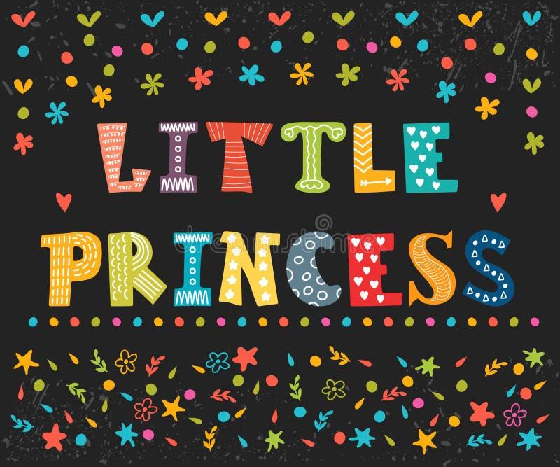 小公主 小女孩的逗人喜爱的贺卡 滑稽的postc 向量例证
