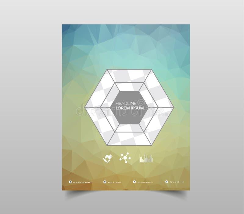 小册子、飞行物、海报、盖子或者网络设计的模板 Abstra 与三角的ct现代背景 皇族释放例证