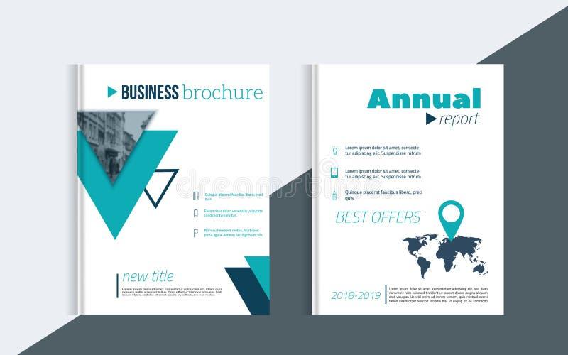 小册子与象的盖子设计和您的事务的blured照片背景 书布局设计 皇族释放例证