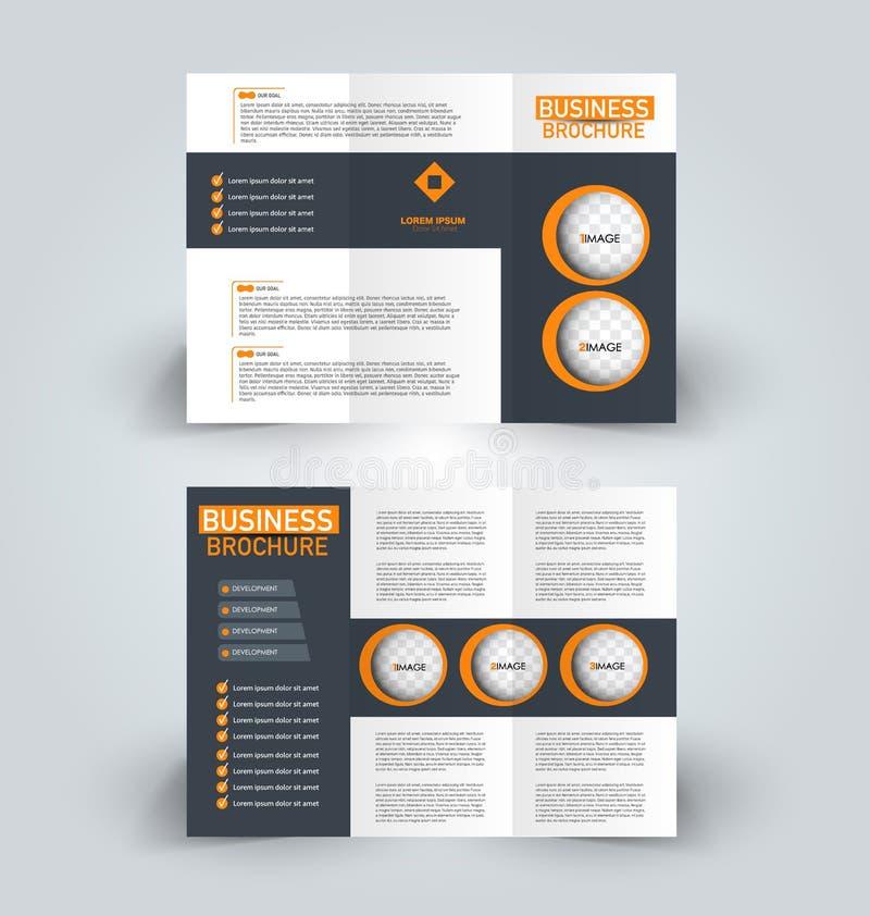 小册子企业教育广告的设计模板 三部合成的小册子 皇族释放例证