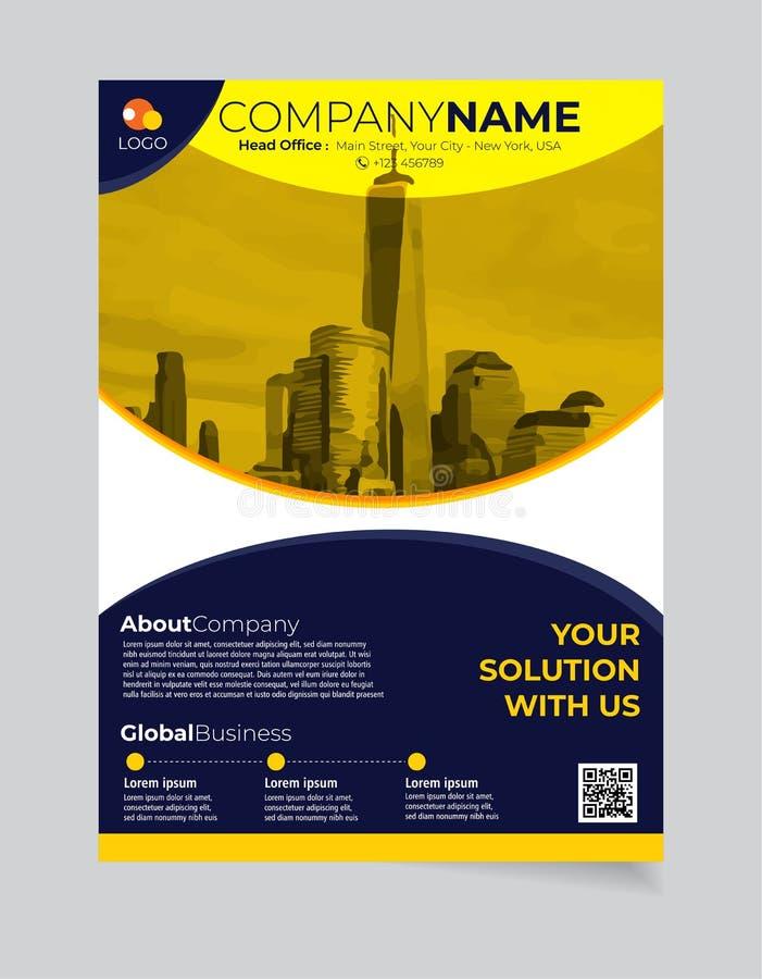 小册子企业模板简单的现代设计和elegant_business小册子模板08 向量例证