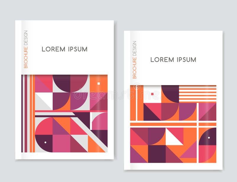小册子传单飞行物的盖子设计 几何抽象的背景 桃红色,橙色,白色,灰色三角、正方形和圈子 向量例证