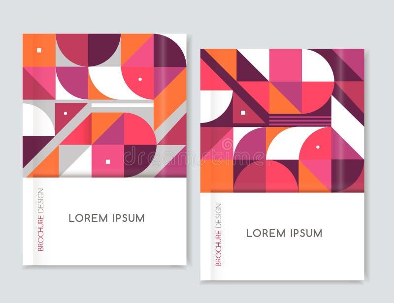 小册子传单飞行物的盖子设计 几何抽象的背景 桃红色,橙色,白色,灰色三角、正方形和圈子 免版税库存图片