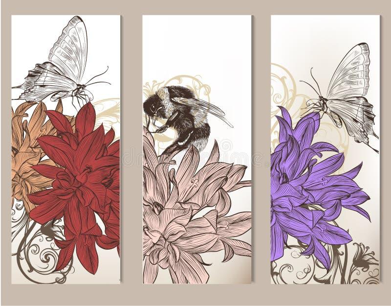 小册子传染媒介设置与花卉元素 库存例证