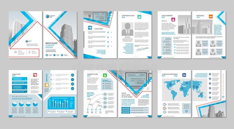 小册子创造性的设计 与盖子、后面和里面页的多用途模板 垂直的a4格式 库存例证