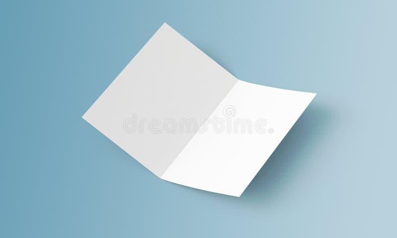小册子大模型 A4/A5 盘旋的空白两折叠在背景的纸小册子 嘲笑被打开的杂志 您的d的盖子 库存例证