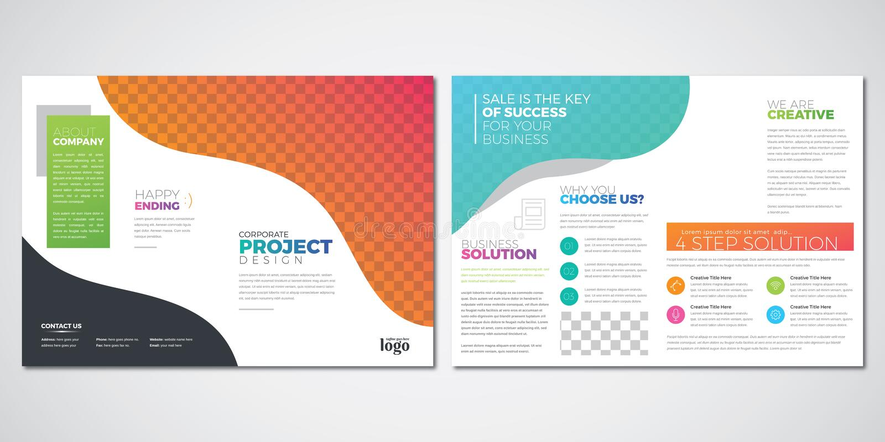 小册子布局设计模板,五颜六色的双折叠传染媒介 皇族释放例证