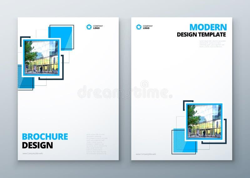 小册子模板布局设计 公司业务年终报告,编目,杂志,飞行物大模型 创造性现代 向量例证