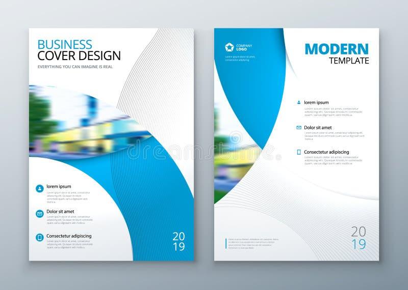 小册子模板布局设计 公司业务年终报告,编目,杂志,飞行物大模型 创造性现代 库存例证