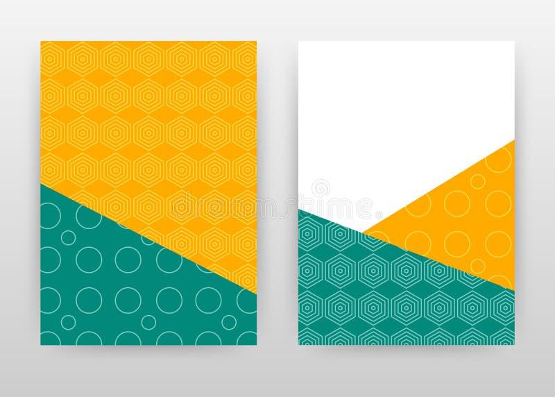 小册子的,飞行物,海报Yello绿色几何六角形圆的冲程企业背景设计 黄绿色抽象小册子 向量例证