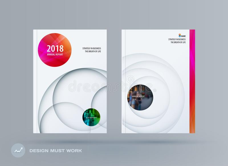 小册子设计纸删节的模板 五颜六色的创造性的摘要集合,与圈子阴影的年终报告烙记的 向量例证
