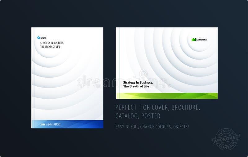 小册子设计纸删节的模板 五颜六色的蓝色创造性的摘要集合,与圈子阴影的年终报告为 库存例证
