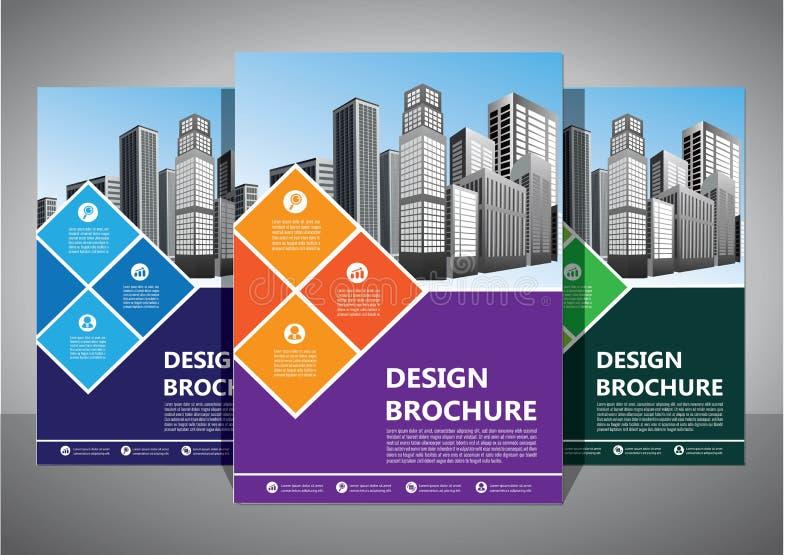 小册子设计,盖子现代布局,年终报告,海报,在A4的飞行物与五颜六色的三角 向量例证