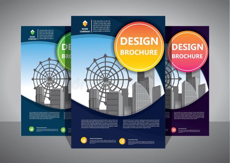 小册子设计,盖子现代布局,年终报告,海报,在A4的飞行物与五颜六色的三角 库存例证