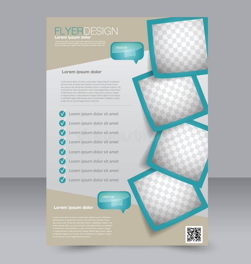小册子设计 飞行物模板 编辑可能的A4海报 皇族释放例证