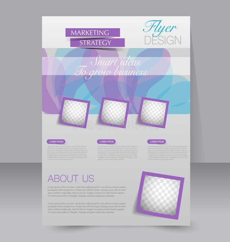 小册子设计 飞行物模板 编辑可能的A4海报 向量例证