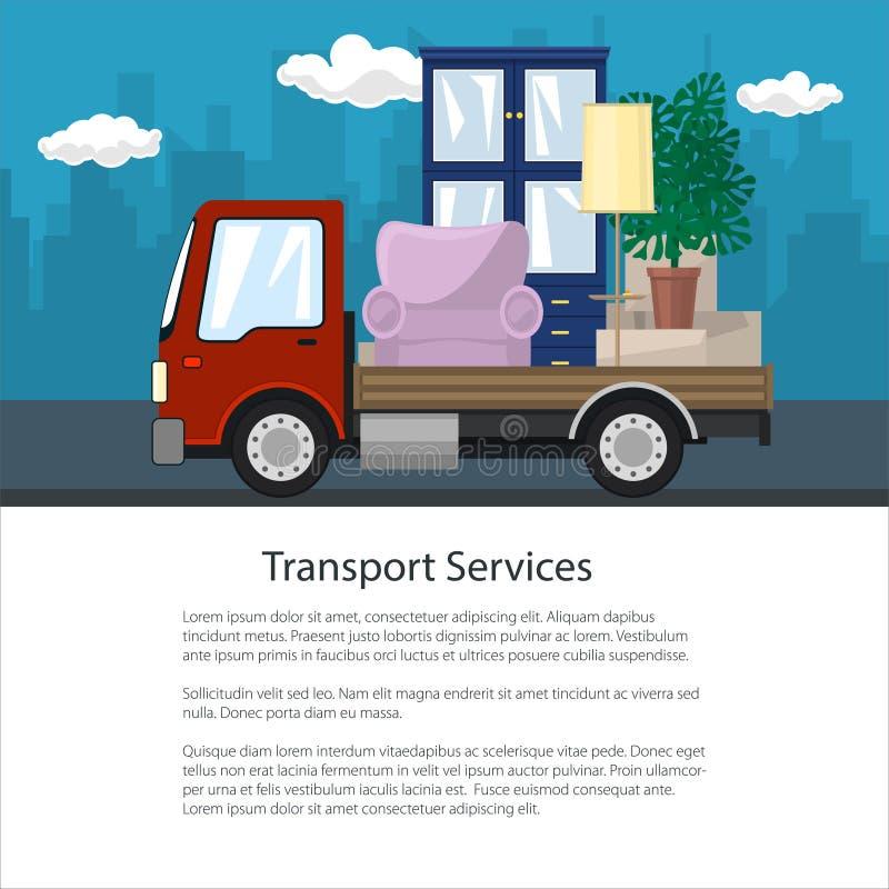 小册子,卡车运输家具 向量例证