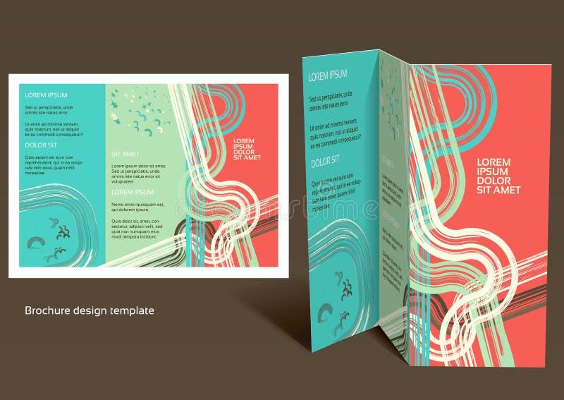 小册子,小册子z折叠布局。编辑可能的设计t 库存例证