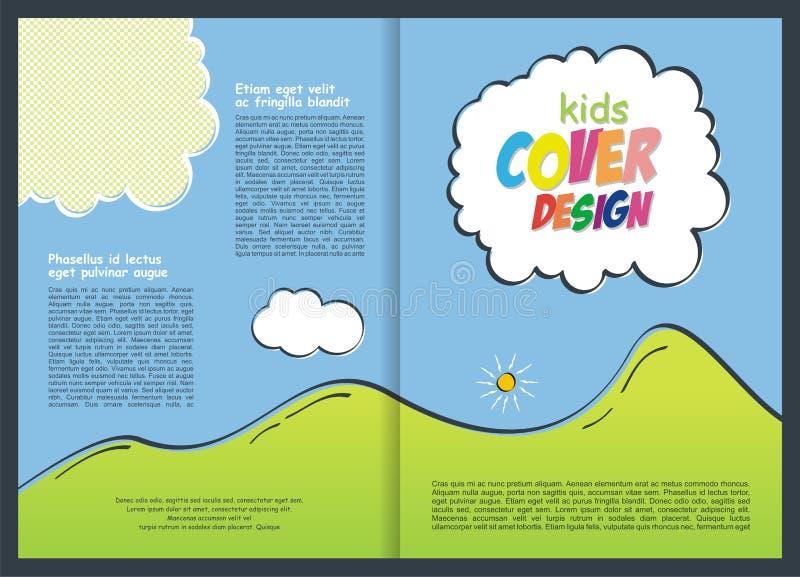 小册子-飞行物孩子的模板设计 库存例证