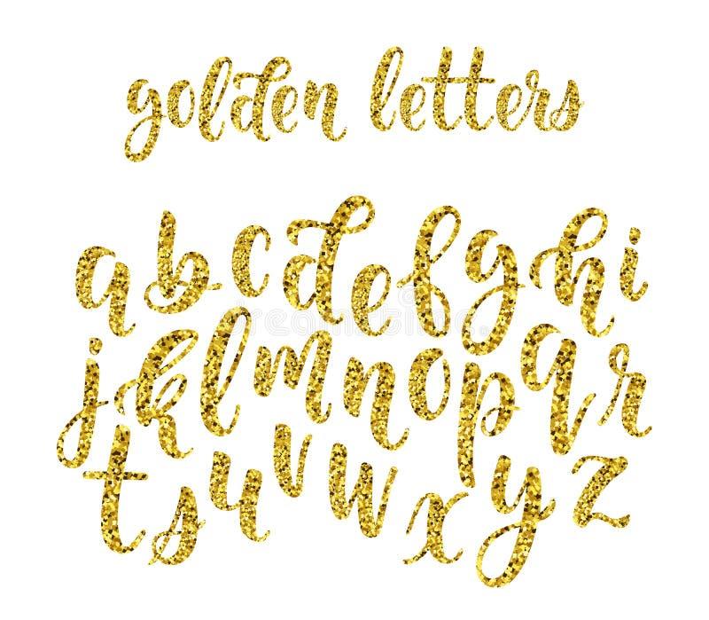 小写字母金子闪烁手拉的拉丁现代书法刷子字母表  向量 库存例证
