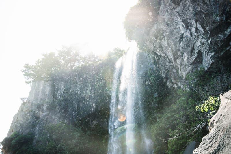 小刷新的下落下跌在Joengbang瀑布在西归浦,济州海岛,韩国 免版税库存照片