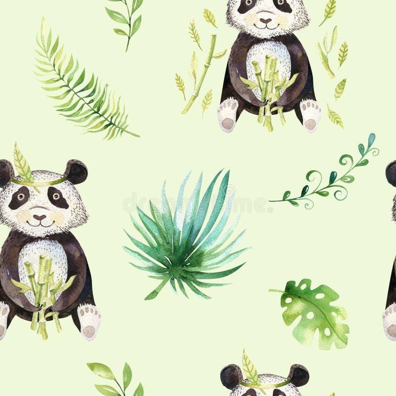 小动物托儿所被隔绝的无缝的样式 水彩boho热带图画,儿童热带图画逗人喜爱的熊猫和 库存例证