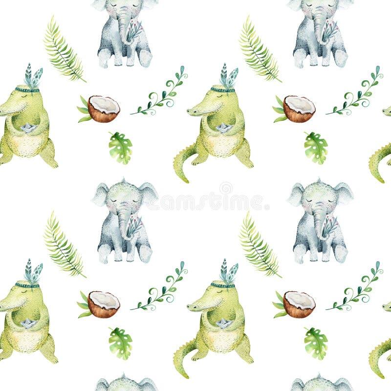 小动物托儿所被隔绝的无缝的样式 水彩boho热带图画,儿童热带图画逗人喜爱的鳄鱼 库存例证