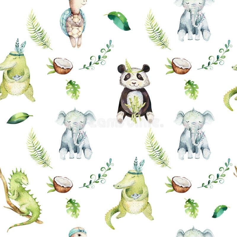 小动物托儿所被隔绝的无缝的样式 水彩boho热带图画,儿童热带图画,熊猫,逗人喜爱 皇族释放例证