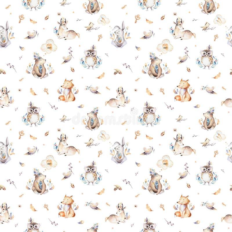 小动物托儿所隔绝了与bannies的无缝的样式 水彩boho逗人喜爱的小狐狸,鹿动物森林地兔子 库存例证