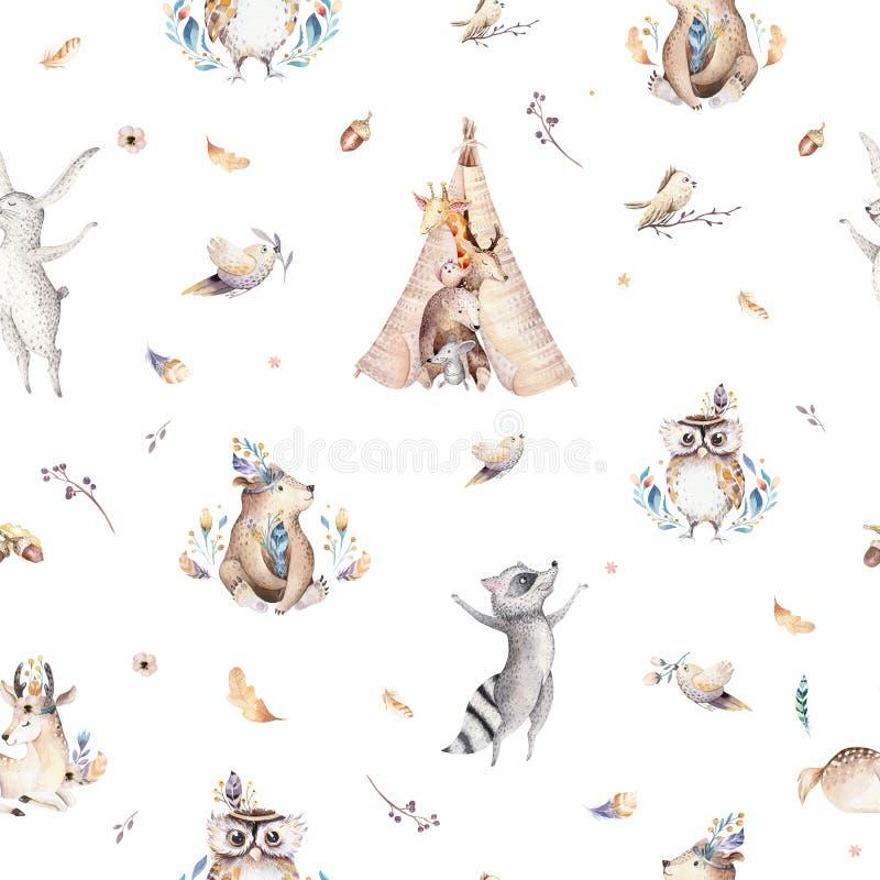 小动物托儿所隔绝了与bannies的无缝的样式 水彩boho逗人喜爱的小狐狸,鹿动物森林地兔子 皇族释放例证
